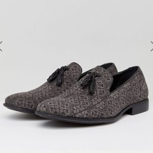 ASOS Gray and Black Print Tassel Loafers